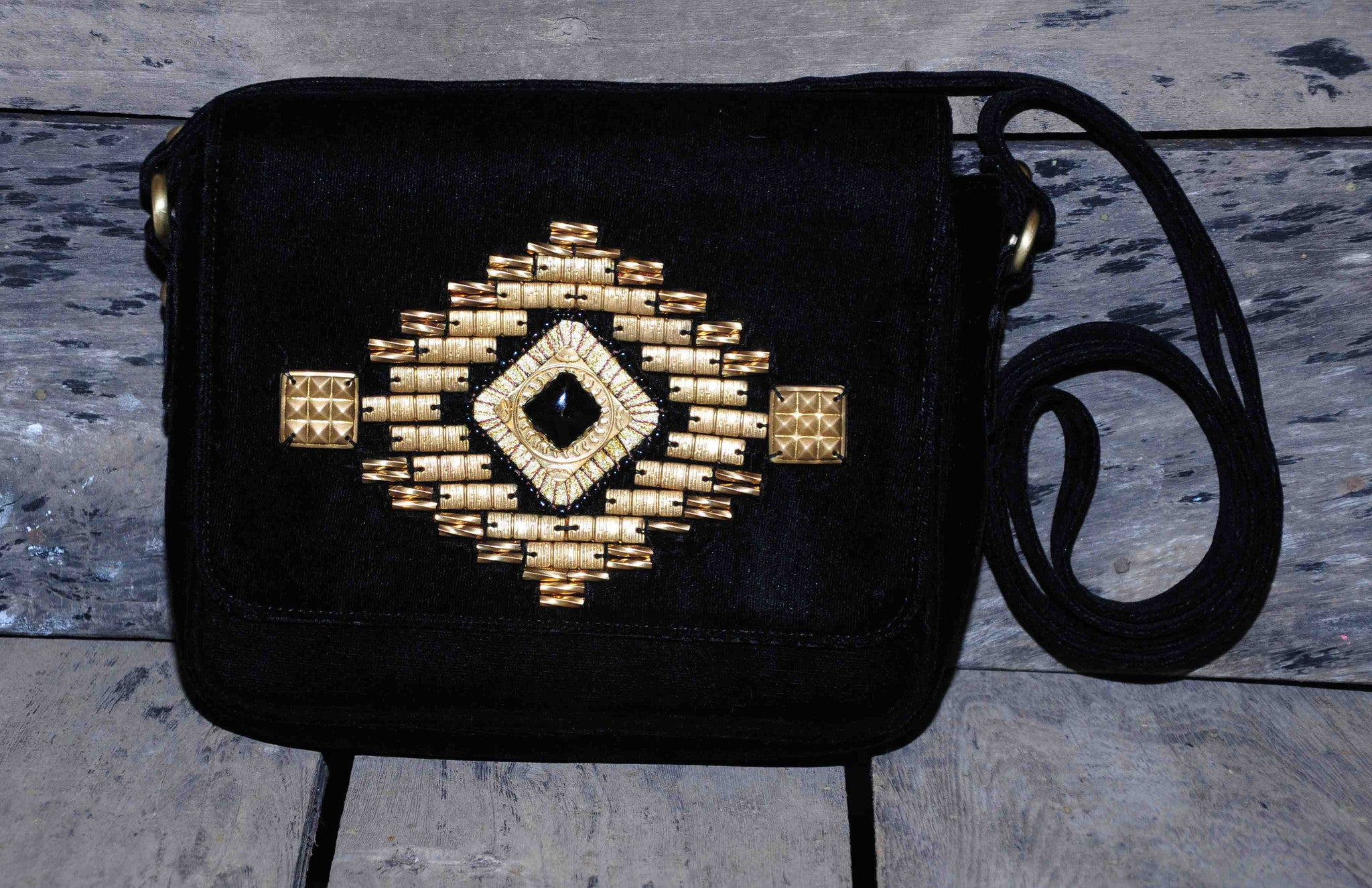 Hand Bag Small Studded Himalayan on Black Velvet
