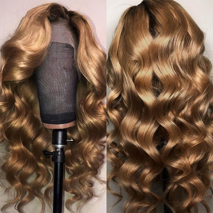 January 2019 Color Mix Blonde Wave Lace Front Remy Wig