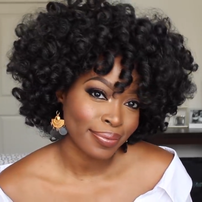 Charming black front lace short curly wig(Fashion style)