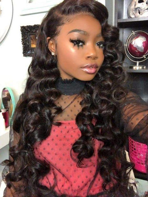 Elegants Loose Wave Lace Front Human Hair Wigs Full Frontal Lace Wig Glueless Brazilian Remy Hair Wig Pre Plucked With Baby Hair