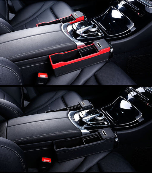 Car Organizer Leather Catch Catcher Box Caddy Car Seat Slit Gap Pocket Storage Glove Box Slot Box Leather 4Color