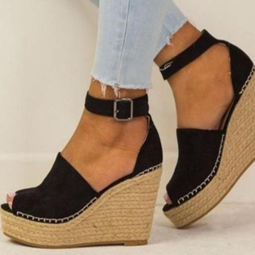 Wedge high heel hollowed-out peep-toe sandals
