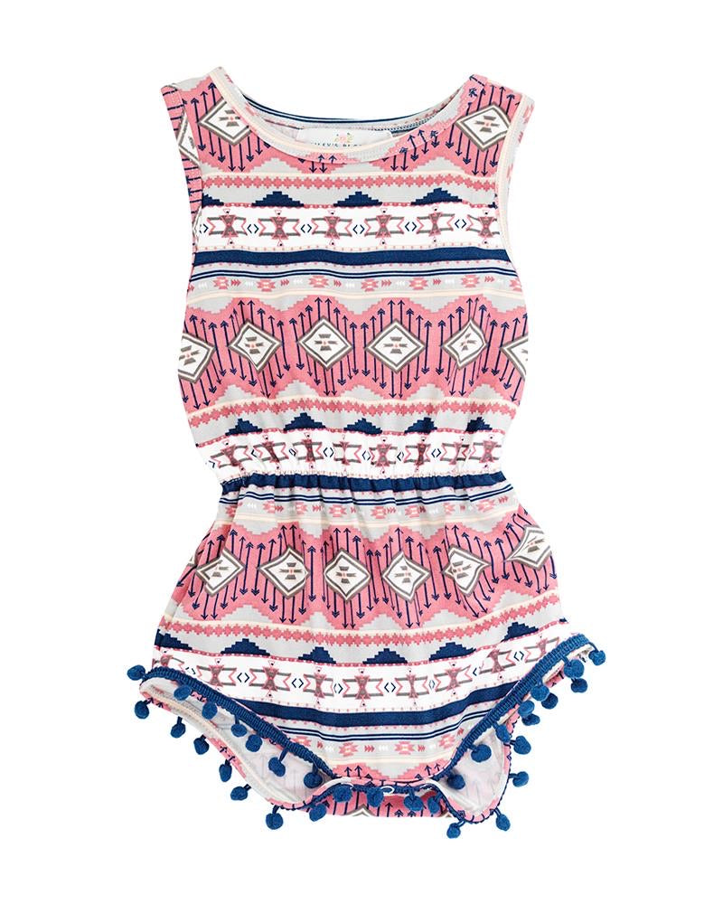 BB Dillon Pom Pom Shorty Romper in Aztec Painted Pink