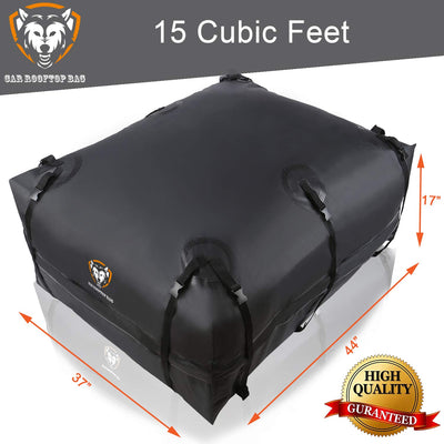 Van With//Without Rack 15 Cubic Feet Heavy Duty Roof Top Luggage Storage Bag with Anti-slip Mat SUV Perfect for Car 10 Reinforced Straps 6 Door Hooks Truck Waterproof Rooftop Cargo Carrier