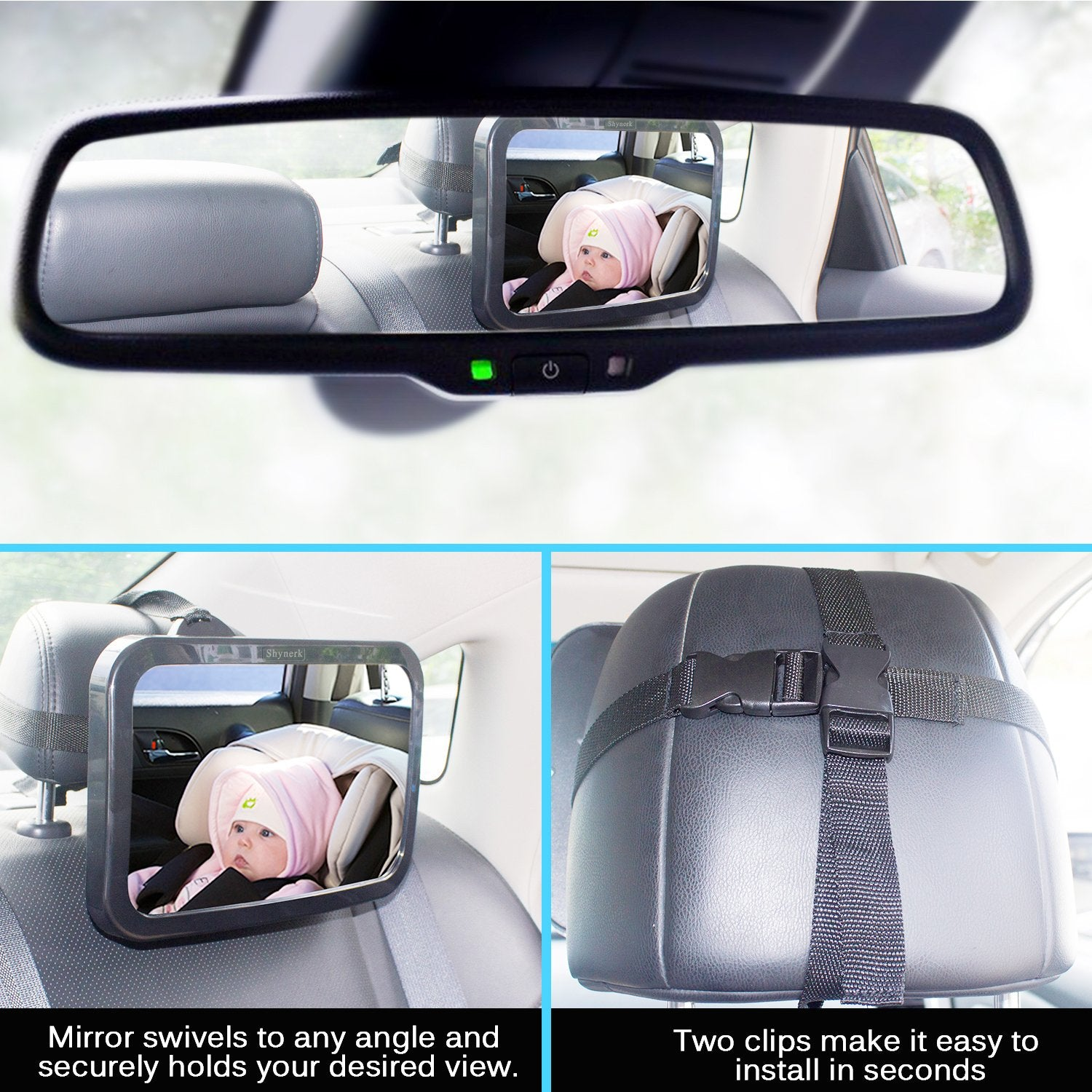 Safety Car Safety Back Seat Mirror 2 in 1 Interior Rearview  Baby Facing View