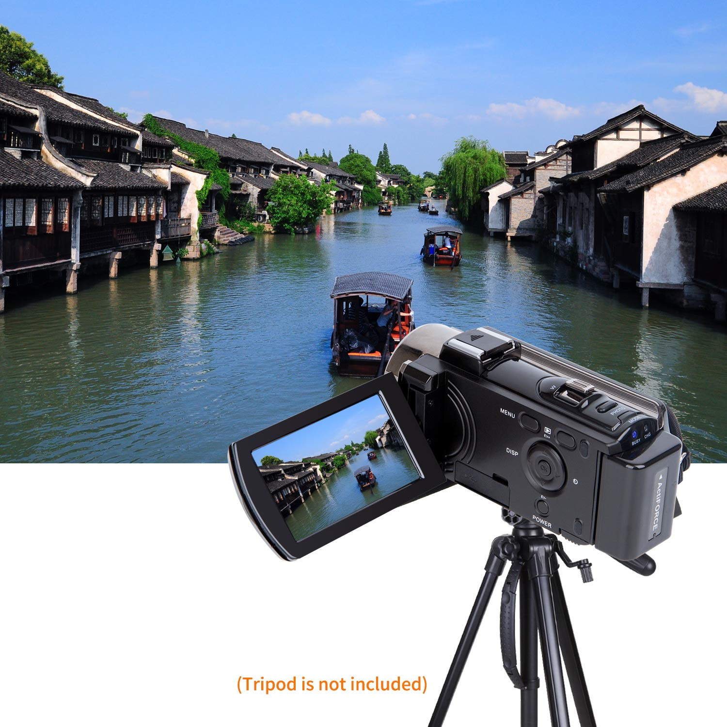 Video Camera Camcorder Digital YouTube Vlogging Camera Recorder kicteck Full HD 1080P 15FPS 24MP 3.0 Inch 270 Degree Rotation LCD 16X Digital Zoom Camcorder with 2 Batteries 604s