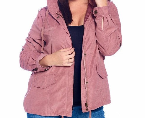 """Rose"" Suede Hooded Plus Size Jacket 3XL"
