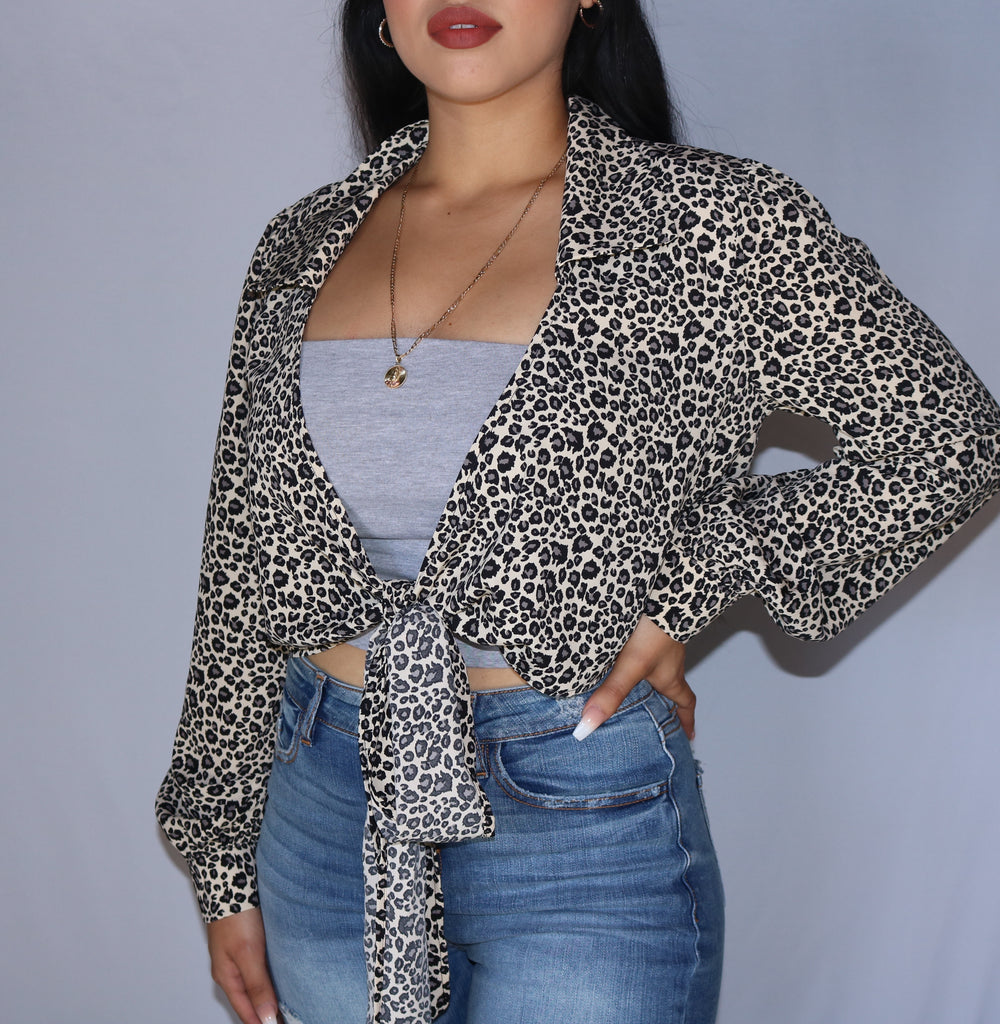 """Emily"" Leopard Crop Top SMALL"