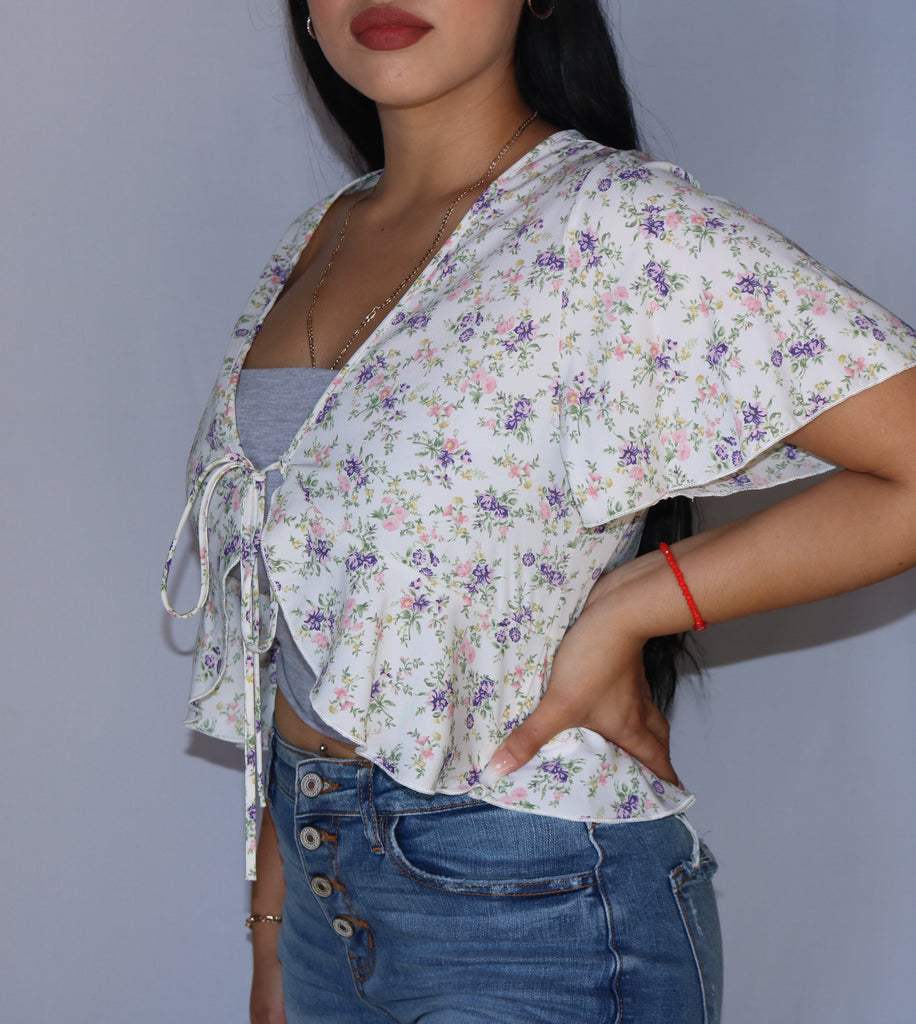 """Faith"" Floral Front Tie Top"