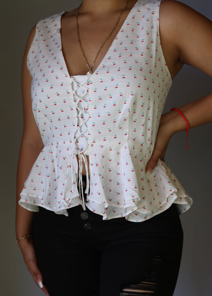 """Cherries"" Lace Up Top"