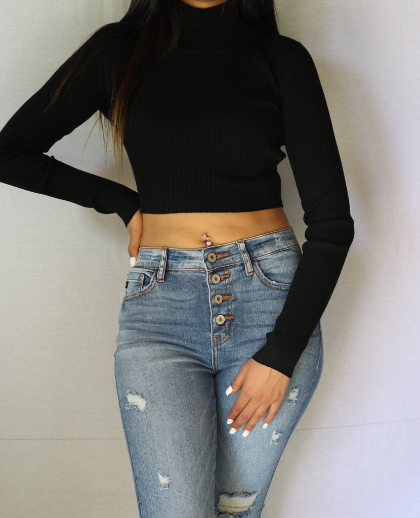 """Wifey"" Turtle Neck Crop Top"