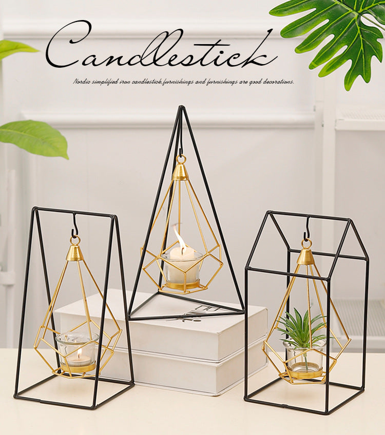 Nordic Gold Geometric Candle Lanterns Hanging Candle Holder Brass And Wrought Iron Table Decoration Coffee Table Props Garden Chic Home Decor