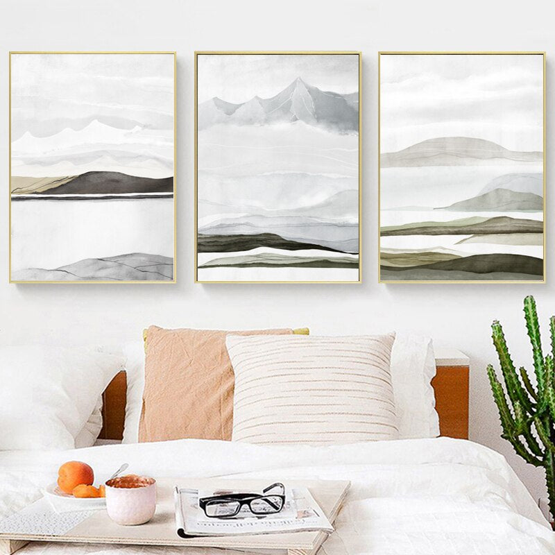 Mountain Landscapes Contemporary Abstract Nordic Style Fine Art Canvas Prints Earthy Colors Natural Hues For Modern Scandinavian Home Decor
