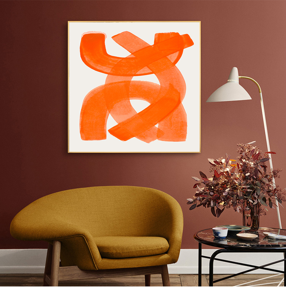 Bright Orange Abstraction Square Wall Art Fine Art Canvas Prints Minimalist Contemporary Picture For Office Interior Living Room Modern Home Decor