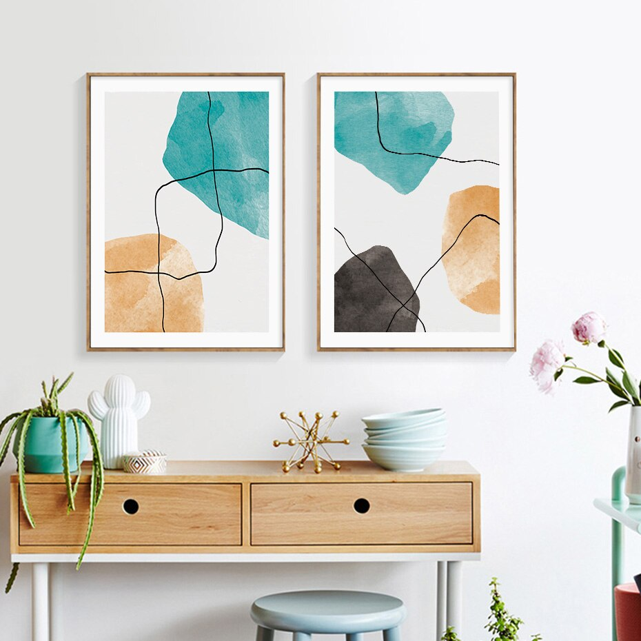 Mint Green Abstract Elements Minimalist Nordic Wall Art Fine Art Canvas Prints Contemporary Pictures For Living Room Bedroom Modern Wall Art Decor