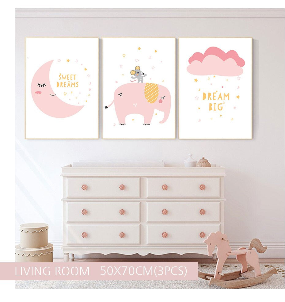 Sweet Dreams Pink Elephant Nordic Nursery Wall Art Dream Big Fine Art Canvas Prints Modern Cute Pictures For Childrens Kids Room Home Decor