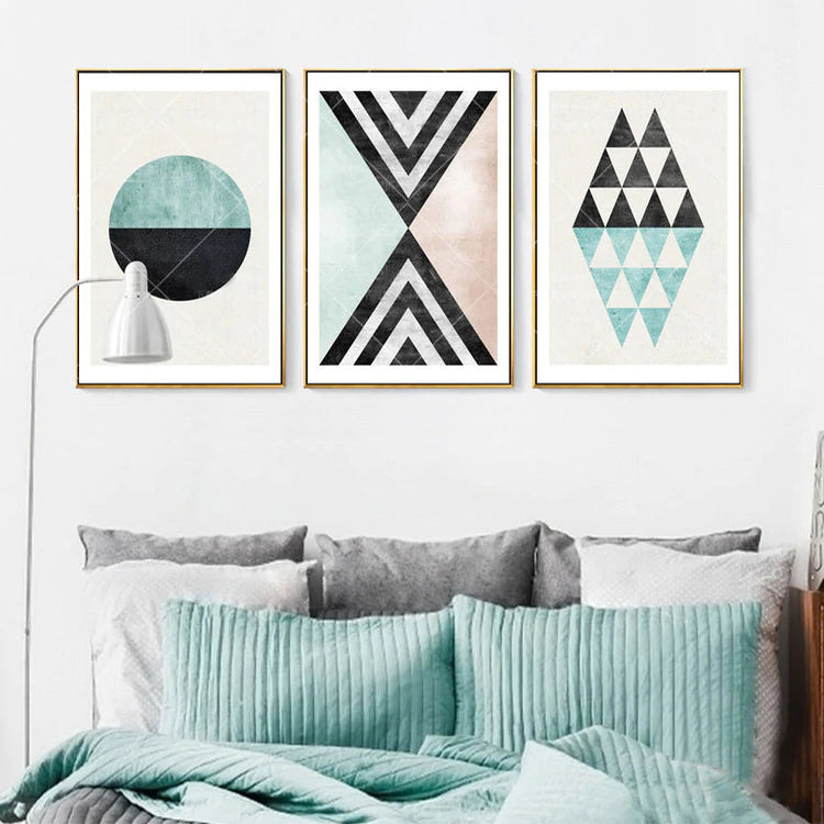 Attractive Geometry Abstract Nordic Wall Art Geometrical Elements Subtle Color Pictures Fine Art Canvas Prints Modern Scandinavian Home Decor