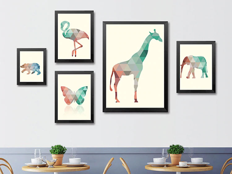 Abstract Animals Modern Geometric Nordic Art Posters Colorful Canvas Wall Art Exotic Home Decoration For Living Room or Bedroom Decor