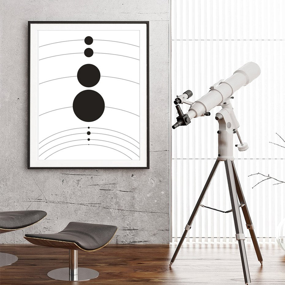 Abstract Astronomy Theme Solar System Planets Poster Space Wall Art Canvas Black & White Prints For Modern Home Decor