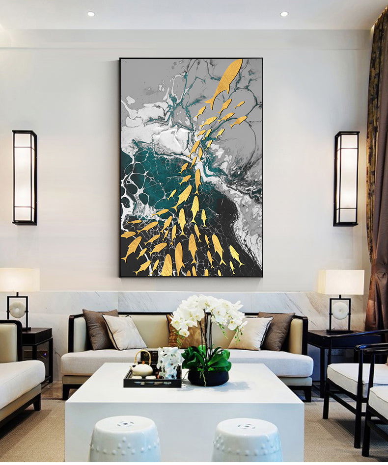 Abstract Aurora Aquatic Marine Wall Art Fine Art Canvas Prints Modern Contemporary Pictures For Office Interior Wall Art Luxury Living Room Home Decor