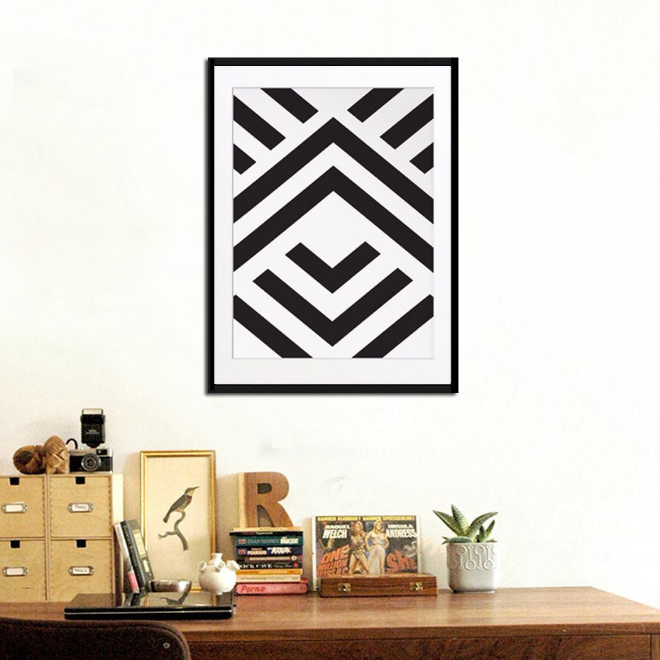 Abstract Aztec Wall Art Black and White Chevron Print Geometric Symmetric Modern Art Poster For Office Home Decor