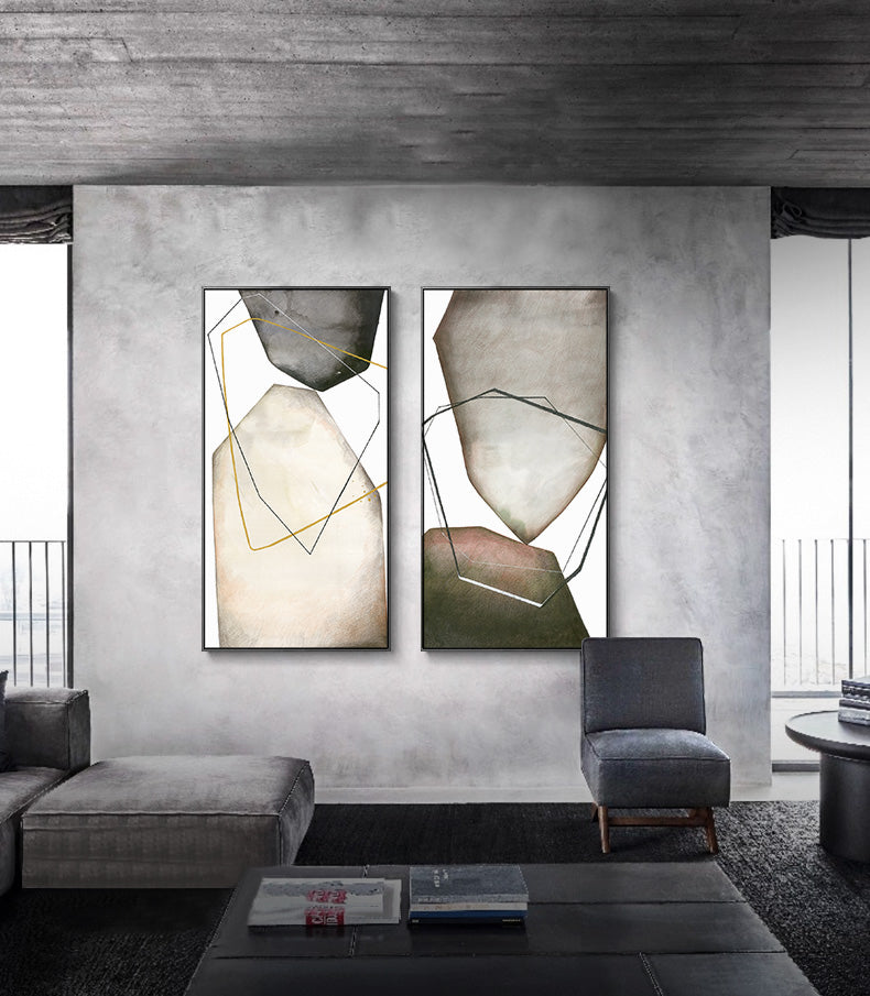 Abstract Biomorphic Geometric Wall Art Modern Rustic Gray Black Brown Beige Canvas Prints Modern Office Home Interior Wall Art Decor
