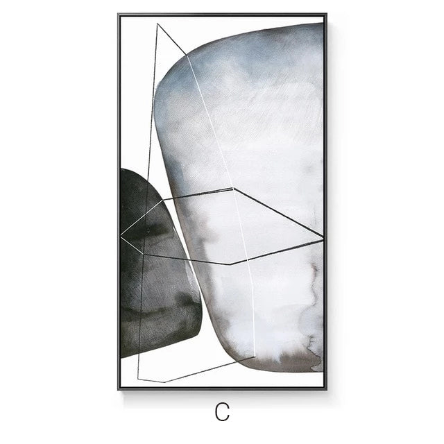 Abstract Minimalist Big Posters n Print Canvas Paintings Home Decor Grey stones Wall Art Pictures For Hotel Aisle Living Room