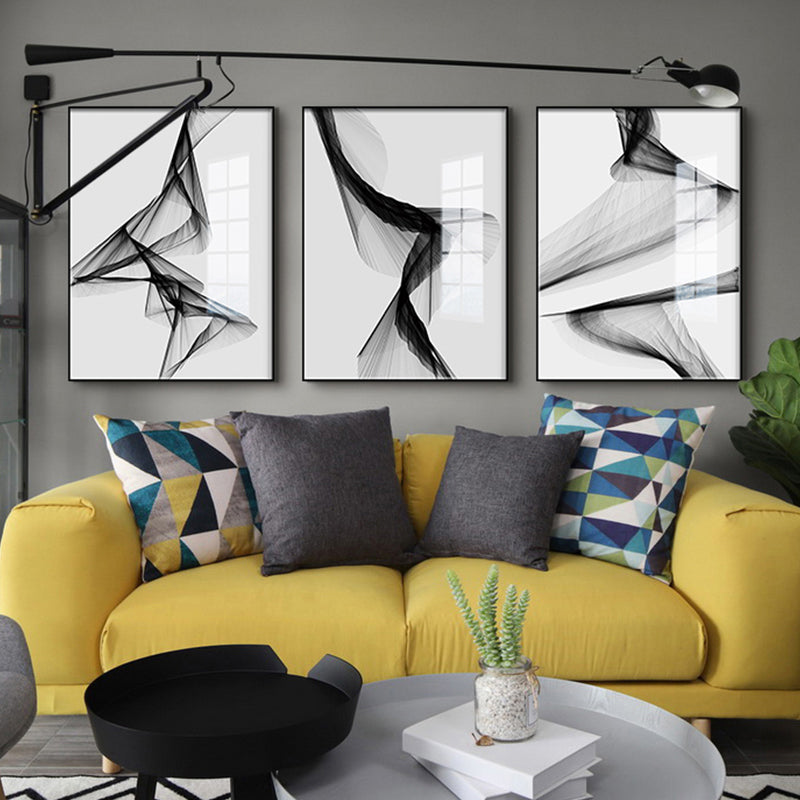 Abstract Black And White Geometric Wall Art Nordic Minimalist Fine Art Canvas Prints Modern Pictures For Living Room Dining Room Home Office Interior Decor