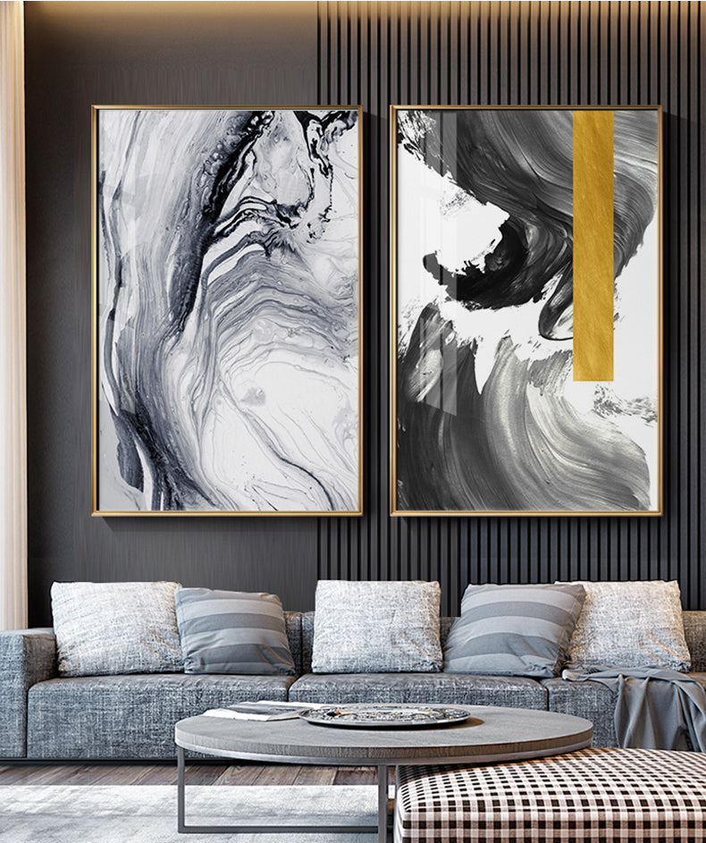 Modern Swirls Abstract Black Gold Wall Art Fine Art Canvas Prints Contemporary Scandinavian Style Pictures For Living Room Home Decor