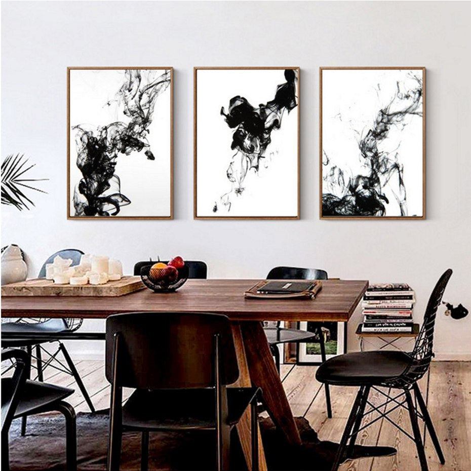 Abstract Black Ink Canvas Poster Water Art Black and White Paintings Modern Photographic Prints For Offices Salons and Modern Home Decor