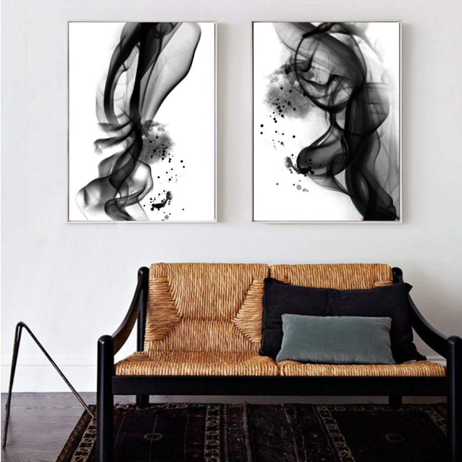Abstract Black White Ink Splash Posters Fine Art Canvas Prints POP Art Paintings Minimalist Salon Art For Office Boutiques and Home Decor