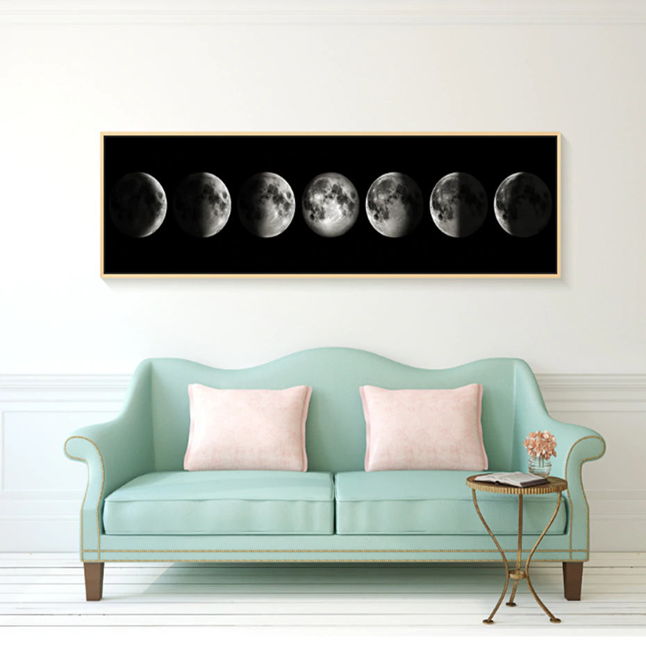 Abstract Black and White MOON Phases Wall Art Poster Nordic Canvas Astronomy Photographic Print For Office or Living Room Home Decor