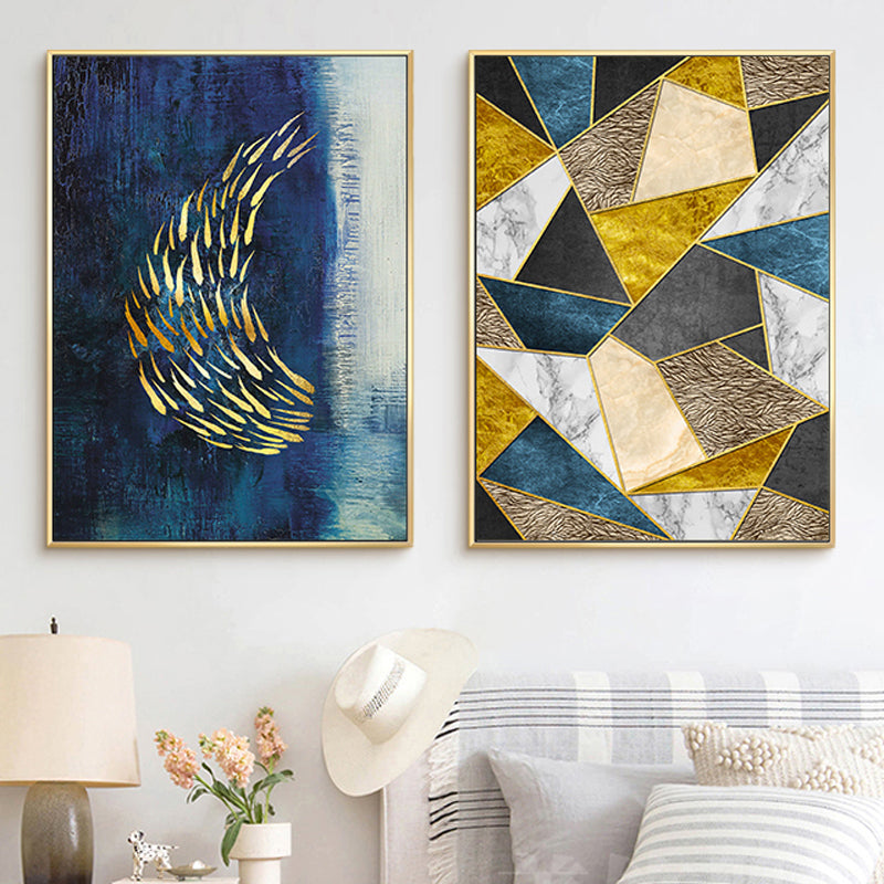 Abstract Blue Golden Geometric Landscape Wall Art Fine Art Canvas Prints Modern Nordic Mural Pictures For Loft Apartment Living Room Luxury Home Decor