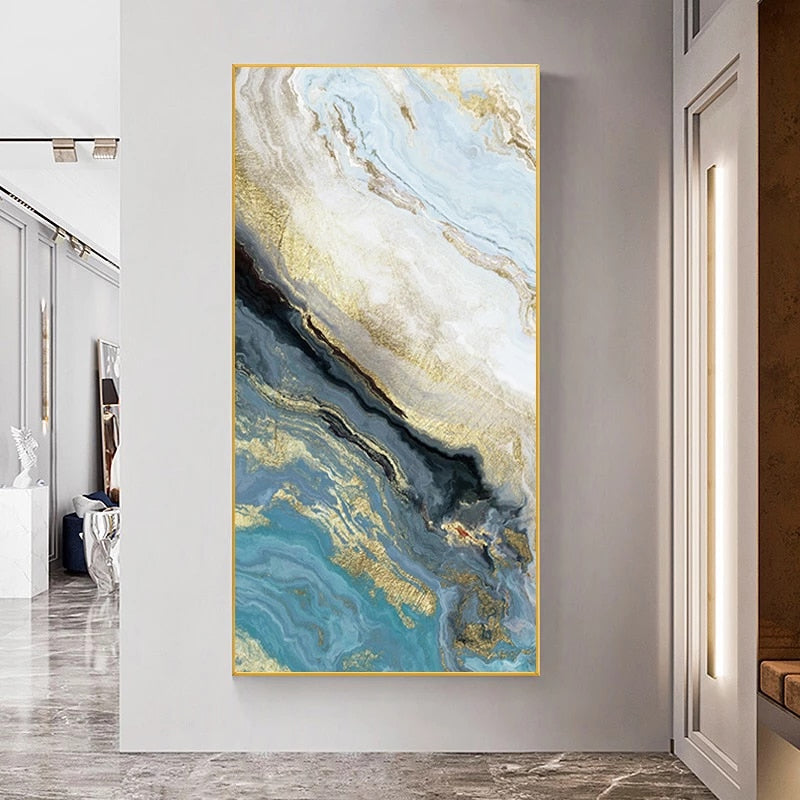 Abstract Blue Golden Marble Design Wall Art Fine Art Canvas Prints Contemporary Pictures For Designer Home Loft Apartment Modern Office Wall Art Decor
