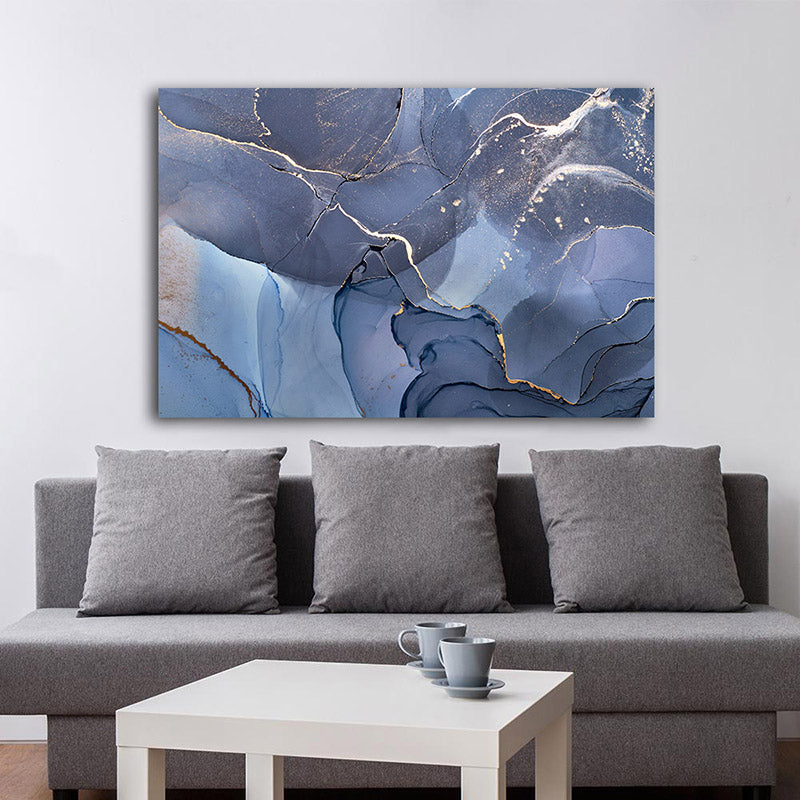 Abstract Blue Gray Marble Wall Art Fine Art Canvas Prints Contemporary Nordic Pictures For Office Or Living Room Bedroom Modern Wall Art Home Decoration