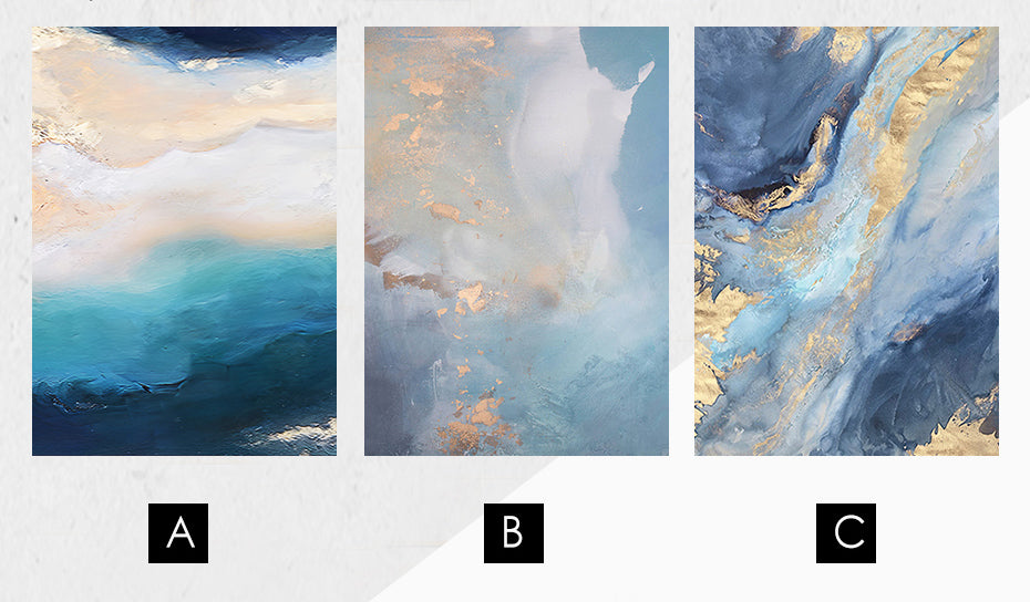 Abstract Blue Marble Sea Sand And Surf Contemporary Wall Art Fine Art Canvas Prints For Bedroom Living Room Home Interior Decor
