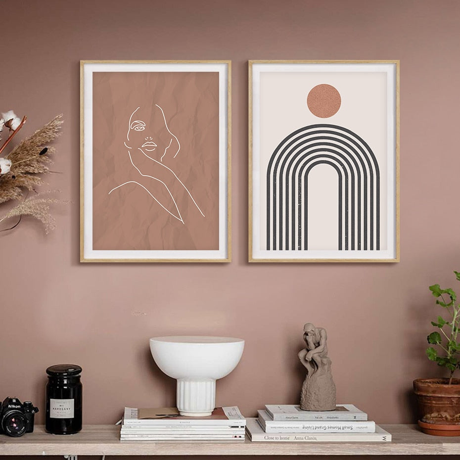 Abstract Boho Wall Art Natural Colors Fine Art Canvas Prints Modern Minimalist Gallery Wall Pictures For Living Room Dining Room Stylish Home Interiors