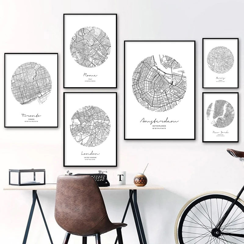 Abstract City Maps Wall Art Black White Fine Art Canvas Prints Nordic Style Home Office Posters London Paris New York Amsterdam Toronto or Rome