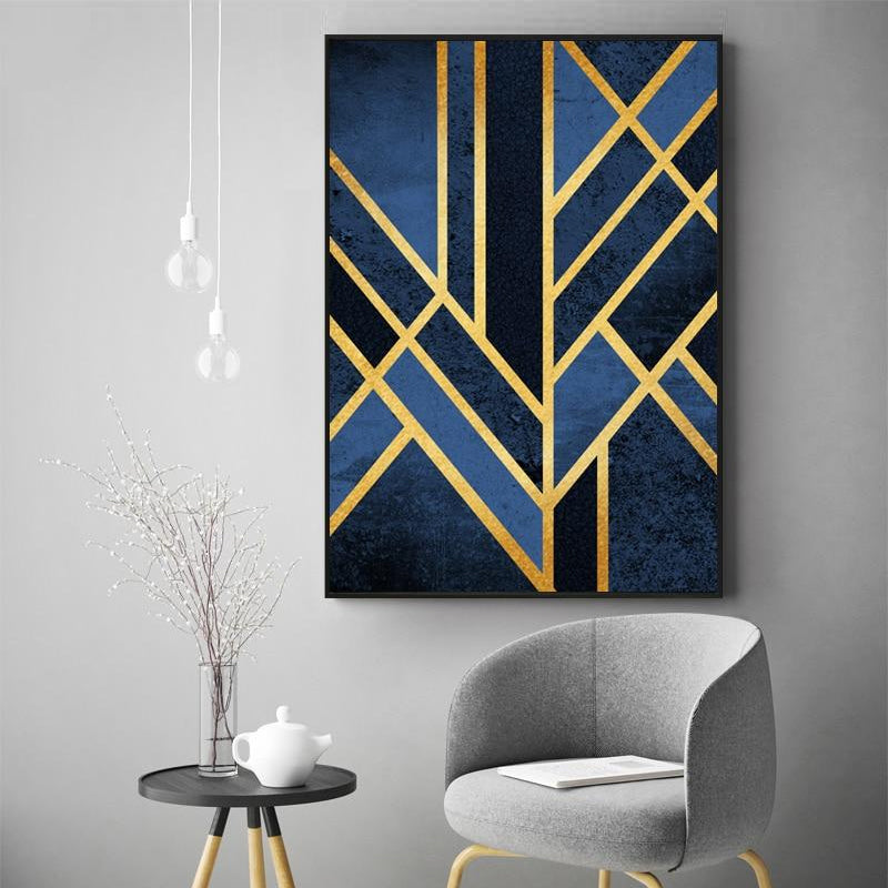 Abstract Classic Art Deco Wall Art Gold Blue Geometric Nordic Design Fine  Art Canvas Prints Pictures For Office Home Interior Living Room Decor