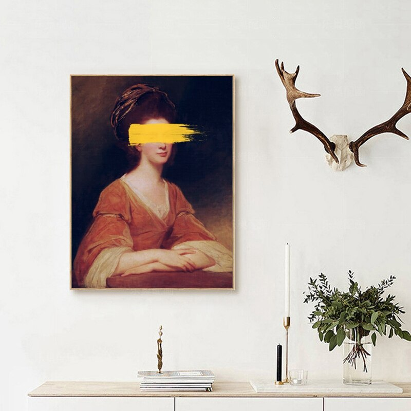 Abstract Classical Altered Vintage Portrait Wall Art Fine Art Canvas Prints Retro Surreal Gallery Wall Pictures For Living Room Dining Room Modern Home Decor