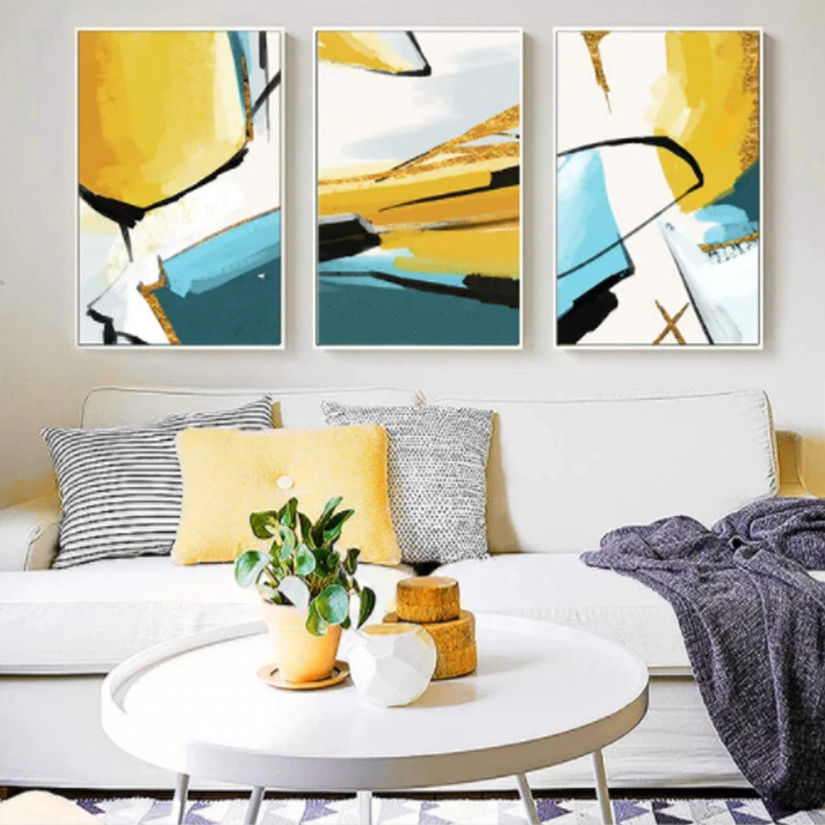 Abstract Color Splash Wall Art Posters Modern Nordic Canvas Paintings Fine Art Prints For Modern Gold Blue Jade Home Interior Decoration