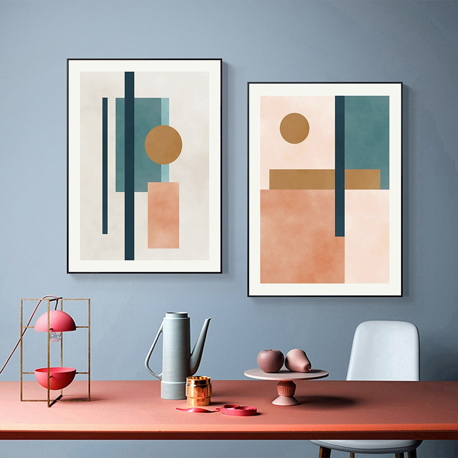 Abstract Elements Geometric Nordic Wall Art Fine Art Canvas Prints Natural Hues Light Tones Modern Pictures For Living Room Dining Room Home Interior Decor