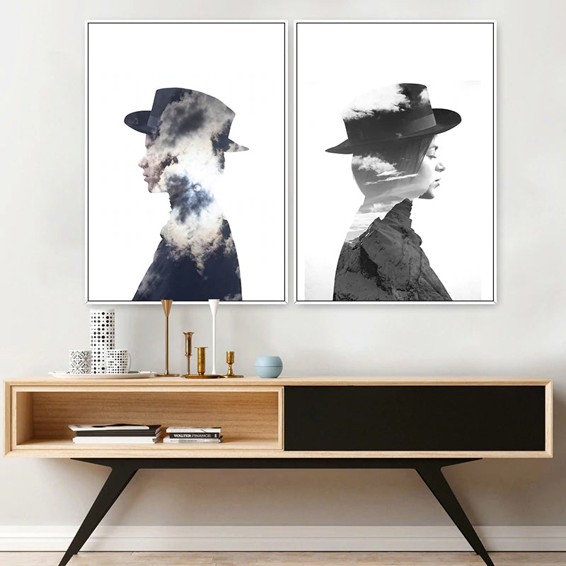 Abstract Fashion Figures Fine Art Canvas Prints Black and White Posters Nordic Wall Art For Offices, Salons, Boutiques and Modern Home Decor