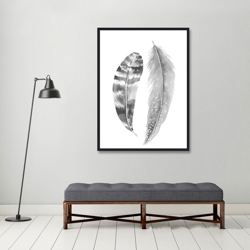 Abstract Feathers Black & White Portrait Nordic Style Wall Art Fine Art Canvas Prints Pictures For Modern Scandinavian Style Home Interior Decor