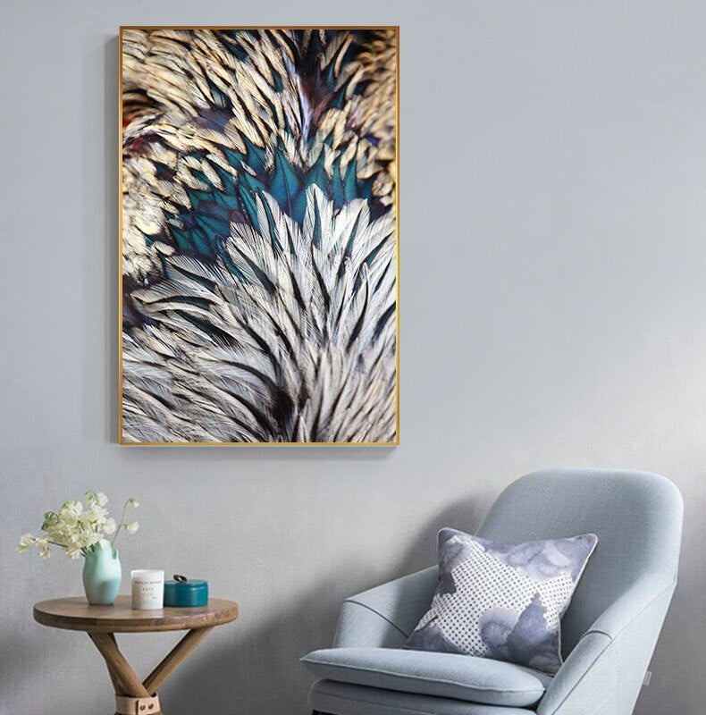 Abstract Feathers Wall Art Fine Art Canvas Prints Luxury Pictures For Living Room Bedroom Modern Fashionable Glam Home Interior Decor