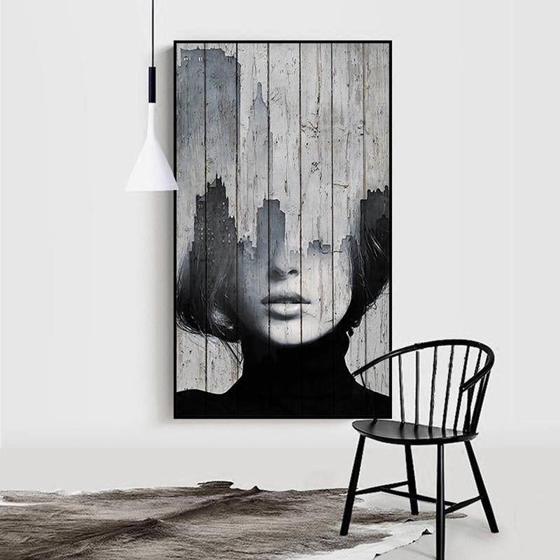 Abstract Figure Art Nordic Style Black And White Photographic Portrait Landscapes Fading Wood Fine Art Canvas Prints For Modern Home Decor