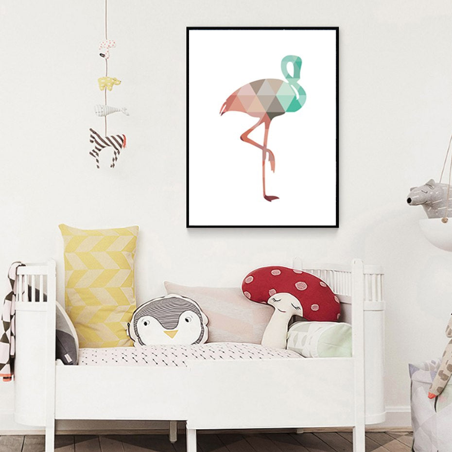 Abstract Flamingo Wall Art Geometric Nordic Design Animal Poster Canvas Print For Nursery Decoration Kids Rooms Home Decor