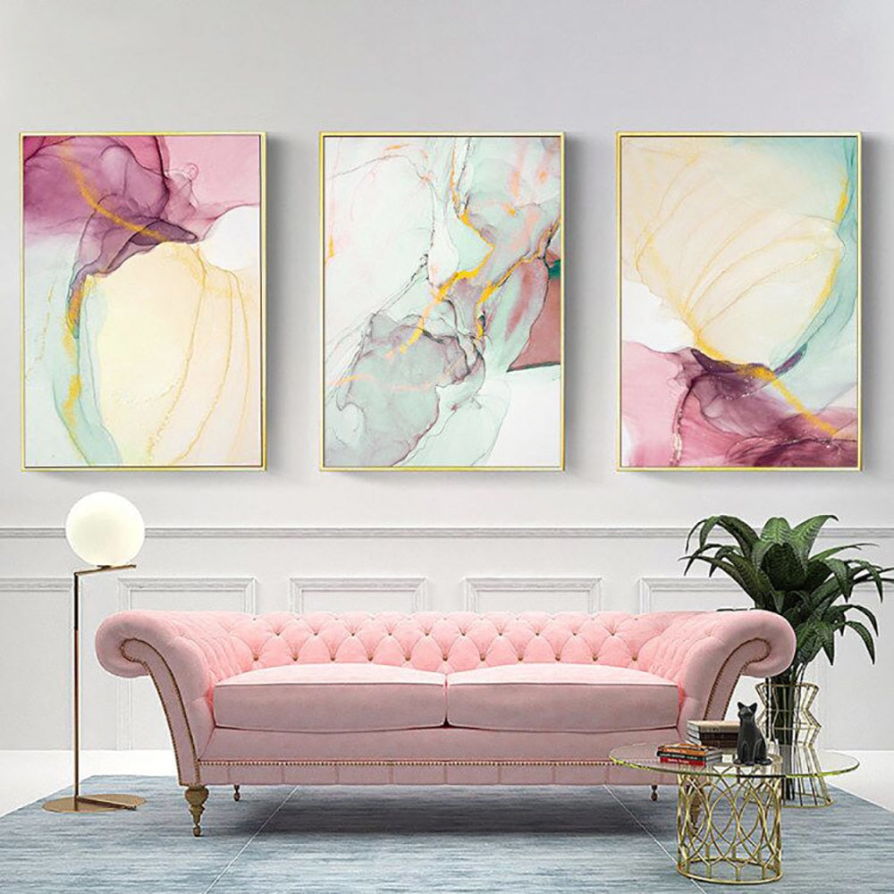 Abstract Flowing Formations Marble Effect Wall Art Fine Art Canvas Prints Pink Purple Yellow Green Colorful Pictures For Living Room Bedroom Home Art Decor