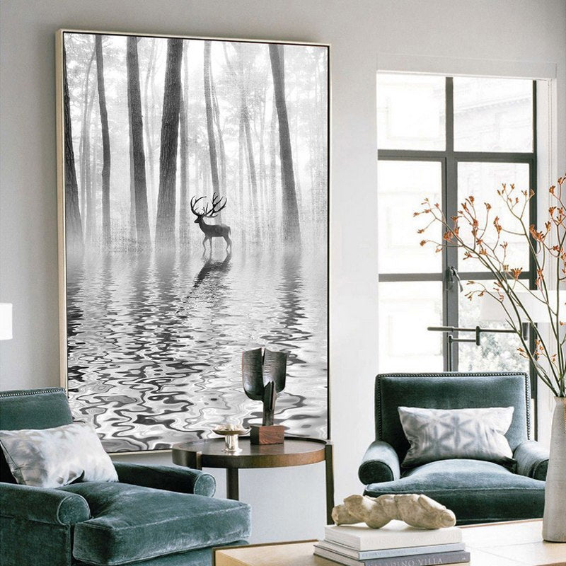 Abstract Forest Water Wildlife Landscape Canvas Painting Nordic Wall Art Black White Poster Print Modern Art For Living Room Home Decor
