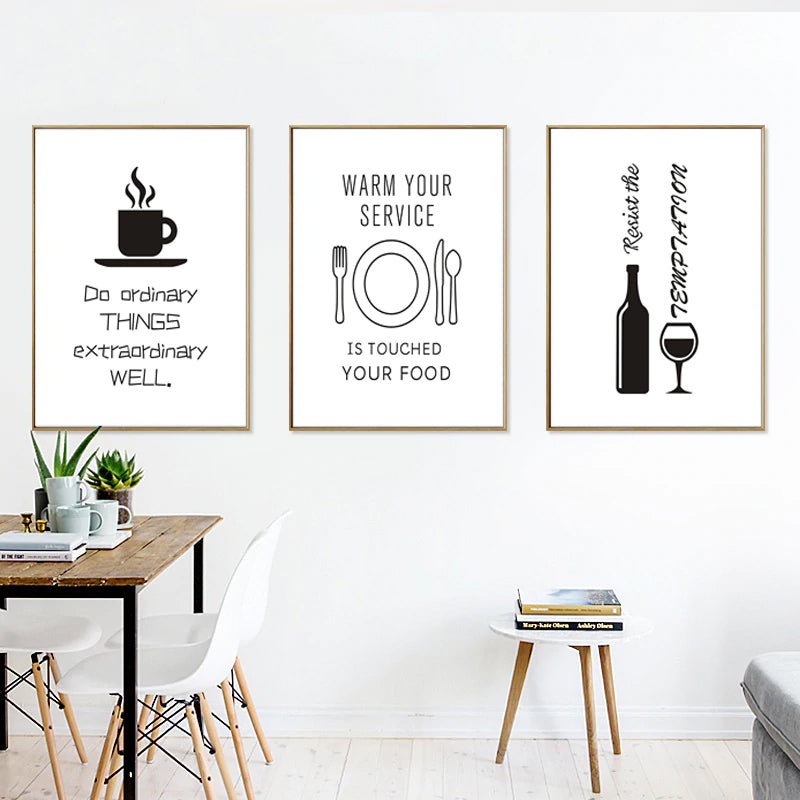 Minimalist Food Wine Lovers Kitchen Paintings Black and White Nordic Canvas Wall Art Posters Pictures for Kitchen Dining Room Decor